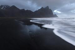 Stokksnes black sand beach (Arnaud Grimaldi) Tags: vestrahorn stokksnes stocksness iceland islande black sand beach long exposure