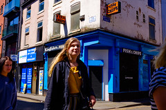 Chip Shop Girls (Michael Goldrei (microsketch)) Tags: uk spring women england street fish mai orange photos photographer st photography fuji may manchester european tib xseries fujifilm fujilovers corner kingfisher blue x100t chips 18 series girls 2018 x britain europe manc photo