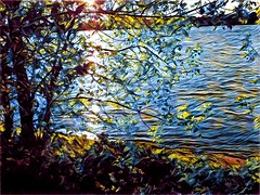 glistening light on the river (angelinas) Tags: water prisma prismaapp textures ripples sunlight light reflections reflets lumieres river riverscape waterscape landscapes paysages edits photoedits photopainting digitalpainting digitalart art artwork artistic trees leaves rivers photoprocess