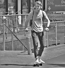 IMG_1231 (Skinny Guy Lover) Tags: outdoor candid guy man male dude skateboard skateboarding slender jeans blond backpack headphones