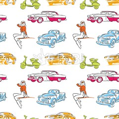 [Patterns]  Vintage cars seamless pattern (Hebstreits) Tags: abstract art auto automobile backdrop background black car cars cartoon classic design drawing drawn drive garage girl graphic grunge hand illustration london muscle newspaper old pattern patterns poster race racing repair retro road seamless sign speed sport style symbol textile texture toy transport transportation travel truck vector vehicle vintage wallpaper