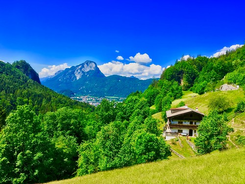 View towards Kufstein and Pendling mountain from Kaiser mountains in Tyrol, Austria