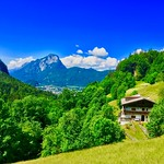 View towards Kufstein and Pendling mountain from Kaiser mountains in Tyrol, Austria thumbnail