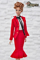 Poppy Parker in red classic suit by ELENPRIV (elenpriv) Tags: poppy parker red classic suit elenpriv elena peredreeva clothes handmade integrity toys fashion doll