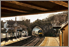 Contrejour Conwy (david.hayes77) Tags: 68004 68020 reliance northwales conwy castle nuclearflasks 6d43 2018 wales class68 freight contrejour bridge rivets rapid cymru