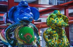more stompers (pbo31) Tags: bayarea california night dark spring boury pbo31 2018 color jacklondonsquare oakland eastbay alamedacounty art statue stomper as baseball sport mlb elephant blue green