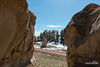 Cleft in the Rock (kevin-palmer) Tags: custernationalforest montana ashland sandstone rockformation pillar march spring sunny blue sky snow nikond750 tamron2470mmf28 dirt road unpaved