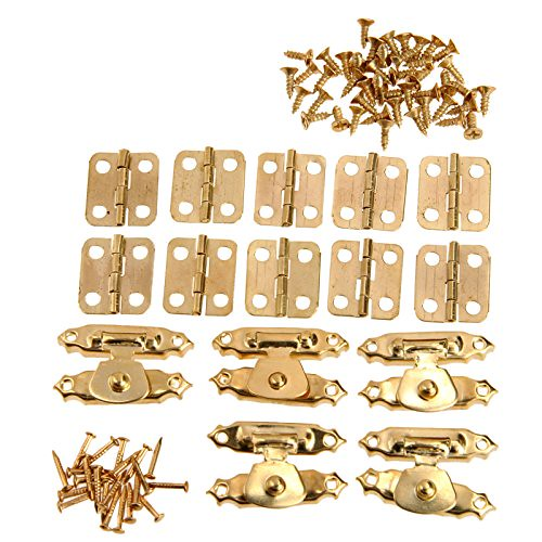5Pcs Antique Gold Jewelry Wooden Box Case Toggle Hasp Latch +10Pcs Cabinet Hinges Iron Vintage Hardware Furniture Accessories 1- - DiZiWoods Store