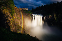 When Light Falls... (John Westrock) Tags: snoqualmiefalls waterfall longexposure twinpeaks rainbow sunset evening trees light washington snoqualmie pacificnorthwest canoneos5dmarkiii canonef2470mmf28lusm bwnd1000x