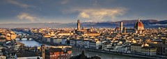 Firenze Morning (Alan Amati) Tags: amati alanamati europe italy italia city cityscape florence fierenze skyline morning morninglight earlymorning early earlylight sunrise overlook piazzale park paizzalemichelangelo michelangelo arno arnoriver river duomo vecchio palatziovecchio ponte pontevecchio cathedral pano panoramic view vista landscape urban old palace spring hill topf25