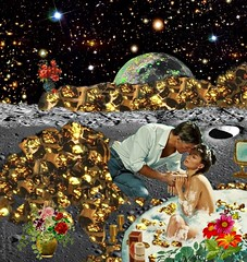 Bath with Gold - By SilviAne Moon. (Silviane Moon) Tags: arte digitalart digitalcollage digitalpainting photomanipulation planetas surreal planets planetspace space bath futuristic gold surrealart surrealism surrealismo surrealistic surrealfantasy art silvianemoon silvianemoonart