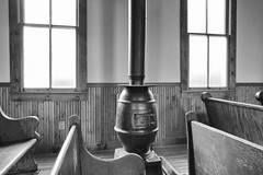 Stove (JCTopping) Tags: 6d 24mm pews church westvirginia canon blackandwhite woodburningstove windows beckley unitedstates us