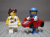The Race Car driver has an eye for the ladies and the ladies like his hot car (N.the.Kudzu) Tags: tabletop lego minifigures lady tennisplayer racecardriver primelens manualfocus lensbabyburnside35 canondslr flash dxoopticspro11