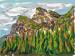 My Travels - My Travels - Yosemite National Park Cathedral Rocks (thor_mark ) Tags: triptopasoroblesandyosemite yosemitenationalpark lookingeast outside trees hillsideoftrees blueskieswithclouds nature landscape bridalveilfall waterfall 617ft188metres ahwahneecheenamepohono spiritofthepuffingwind mountains mountainsindistance mountainsoffindistance lowercathedralrock middlecathedralrock uppercathedralrock cathedralrocks pacificranges sierranevada yosemiterittersierranevada centralyosemitesierra yosemitevalley mountainside digitalpainting adobedraw adobeillustratordraw ipad artdigital ipadprodrawing applepencil azimuth91 california unitedstates