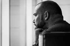 Pensive (dharder9475) Tags: 2018 5star airport bw blackandwhite candid concourse deepinthought man pensive privpublic streetphotography thinking waiting
