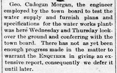 1892 02 - George C Morgan water works - Enquirer - 26 Feb 1892