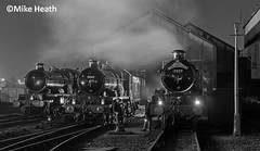 Castles on shed at night - Tyseley - 13 April 2018  (7) (Mike Heath Photo) Tags: tyseley loco locomotive works birmingham railway museum uk steam train trains 5080 defiant 5043 earl mount edgecumbe 7029 clun castle class gwr great western night time nightshift 30742 charter charters vintage footplate crew