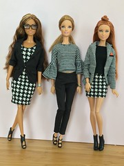 Monochrome trio (Emilypm3) Tags: barbiestyle dolls blackandwhitefashion monochrome thelook collector barbiebasics fashionista mattel barbiedoll