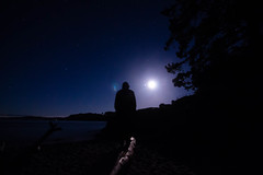 Watching the Moon (Joel Apple) Tags: longexposure blue victoria ocean moon vancouverisland silhouette stars things nightphotography canada northamerica britishcolumbia places pacificnorthwest