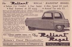 RELIANT REGAL (old school paul) Tags: vintage ads adverts reliant regal car auto motor vehicle 1956