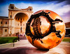 Sfera Con Sfera - Textured (byron bauer) Tags: byronbauer spherewithinsphere vatican rome bronze sculpture sphere italy reflection painterly electric texture topaz simplify sky clouds plaza architecture outline sunlight