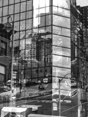 """Multi-Exposure in Camera Reflections and Shadows In Chinatown NYC created by Nolan H. Rhodes (nrhodesphotos(the_eye_of_the_moment)) Tags: p40700523001084 """"theeyeofthemoment21gmailcom"""" """"wwwflickrcomphotostheeyeofthemoment"""" manhattan nyc chinatown outdoors glass metal abstract multiexposure reflections shadows camera art by nolan h rhodes road autos transportation streetlights signs monochrome building streetscene"""