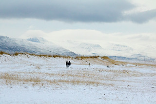 Friends taking a walk on a cold winters day, Iceland