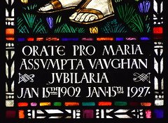 Orate pro Maria Assumpta Vaughan jubilaria (Margaret Agnes Rope for East Bergholt Convent, Suffolk, 1928) (Simon_K) Tags: kesgrave holy family ipswich suffolk eastanglia rc roman catholic rope artist stained glass windows diocese airship memory memorial