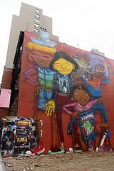 NYC - Chelsea: Os Gemeos' B-Boys with Ghetto Blasters (wallyg) Tags: bboyswithghettoblasters chelsea graffiti manhattan mural newyork newyorkcity ny nyc osgemeos streetart gustavopandolfo otaviopandolfo