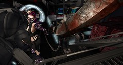 Blade Dancer (Kimiko Mazoku) Tags: insilico cyberpunk scifi dystopia futuristic underground syndicate blade dancer goth gasmask cyborg cyber sword cleaver peril bladerunner