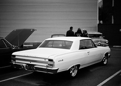 Gardena Elks Car Show (Ilford Delta 100) (JCD Images) Tags: elks lodge 1919 carshow gardena california usa march 2018 cadillac chevrolet ford madeinusa cars autos automobile classiccars musclecars hotrods streetrods street chrome rims custompaint custom kustom photography voigtlander bessar3m rangefinder cosina nokton 40mm f14 singlecoated ilford delta100 film 35mm 135 fromex prolab scanned 1964 chevroletchevellemalibuss