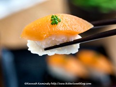 Fish-Free Salmon Sushi 2 (Bitter-Sweet-) Tags: vegan food savory fish salmon sashimi sushi nigiri healthy vegetarian meatless easy homemade diy recipe cooking raw fishless fishfree crueltyfree fruit wholefoods soysauce marinade poke japanese fresh glutenfree