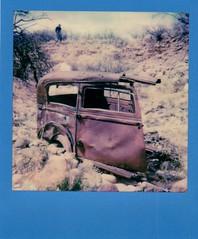 old car wreck on instant film (EllenJo) Tags: polaroid polaroidoriginals impossibleproject colorframe polaroid600 instantfilm abandonedcar rust relic neartheverderiver clarkdale oldcar ellenjo clarkdaleaz arizona 86324 march26 2018