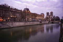 La Seine (karinavera) Tags: city longexposure night photography cityscape urban ilcea7m2 nitredame seine paris notredame
