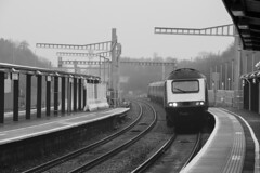 The march of the masts: Bristol Parkway railway station (Dai Lygad) Tags: gwr greatwesternrailway highspeedtrain gloomy grey misty weather electrification masts station gwml greatwesternmainline 43069 stock photos pictures images photographs jeremysegrott april 2018 londonpaddington cardiff blackandwhite modrernisation bristolparkway