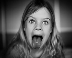 Sweet little monster (PascallacsaP) Tags: portrait portraiture childportrait tongue funnyface blackandwhite blackwhite bw captureonepro highcontrast ilford ilfordfp4plus125 filmsimulation 1styles mitakon zhongyimitakonspeedmaster35mmf095markii noir