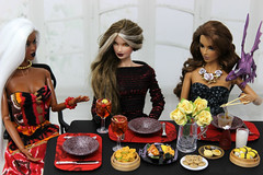 A-Z Challenge 2.0: L - Let's Do Lunch! (MARVEL_DOLLS) Tags: fashionroyalty fr integrity jasonwu ooak customdoll goldstrokeadele gsadele exoticfirevero veroniqueperrin scenestealerisha ssisha handmadeclothing dollclothing youkostevens karenkolkman dollnecklace irresistibledania 16scale food asianfood southerncomfort cocktails milk cookies yellowroses table lunch plates silverware xmen xmansion marvel storm rogue shadowcat kittypryde lockheed az dollphotography challenge letsdolunch red dimsum sushi fish noodles friends friendship excalibur