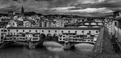 Ponte Vecchio  from Uffizi 2- (jdl1963) Tags: travel italy florence firenze tuscanny bridge river arno ponte vecchio blackandwhite black white mono bw monochrome