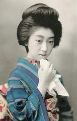 Teruha 1913 (Blue Ruin 1) Tags: geigi geiko geisha shinbashi shimbashi tokyo japanese japan taishoperiod handcolouredpostcard teruha 1913