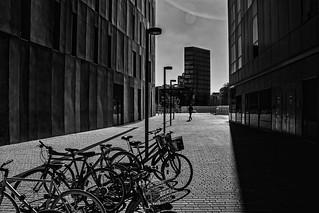 between buildings....