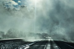 this reality, separated only by a thin veil... (Alvin Harp) Tags: gertna nebraska iowa i80 vail rain highway trucking sonynex5n e55210mm cloudsstormssunsetssunrises mystrious january 2013 alvinharp rainspout raincurtain
