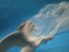 Get On Your Winged Horse! (minminatmidnight) Tags: macro makro toys bewegung motion pegasus heaven sky fantasy fantasie toy fliegen fly flügel wings fujifilmfinepixs100fs schleich pegasos flyinghorse wingedhorse geflügeltespferd fliegendespferd pferd horse