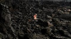 (laura zalenga) Tags: dark black stone coast ©laurazalenga girl woman hard soft contrast pale sitting nature rock rocks felsen schwarz human body landscape