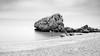 Somewhere (gibwheels) Tags: rock rocks sand shore beach pebbles sea horizon clouds movement long exposure lee filters nikon gibraltar catalan bay black white bw monochrome