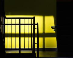 Landing (O'Quinn Photo) Tags: minimalistic stairwell landing door yellow architecture interior throughawindow outsidelookingin mississauga ontario oquinn sheridancollege campus hazelmccallioncampus