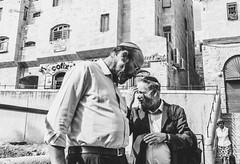 meeting on the street. (遇见) (Monica@Boston) Tags: outdoors people culture city jerusalem oldjerusalem oldtown friend street monochromecity blackandwhite