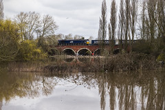 Above the Flood (powern56) Tags: gloucestershire gloucester riversevern flood class66 66430 drs directrailservices freighttrain railway railwaybridge 4v38 tescoexpress