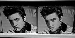 Elvis! (ricko) Tags: elvis elvispresley lunchboxes moonmarblecompany bonnersprings kansas bw