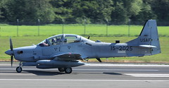 15-2025 Embraer A29 Super Tucano (Panther 83) depart from Prestwick on delivery to Lebanese Air Force. 25/5/18. 15-2025 carrying the pink panther in the cockpit. (BS Images.) Tags: usaf lebaneseairforce tucano military panther embraer a29 airport aircraft aviation ayrshire egpk glasgowprestwick gpa prestwick prestwickairport pik southayrshire scotland