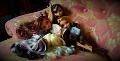 SISTERS (jessandgrace) Tags: dolls portrait colorimage colors figure face hair cerise ashlynnella briar duchessswan darlingcharming eyes everafterhigh eah pretty beauty glamour cute indoor